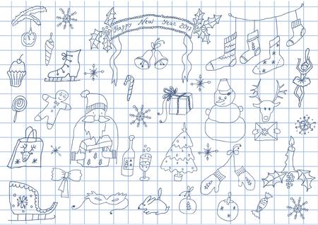 Hand gezeichneter Satz Weihnachtsdekoration Standard-Bild - 90629090