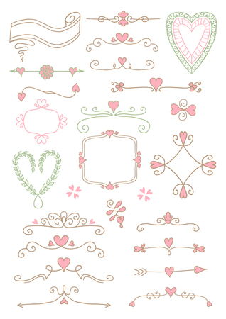 Ornate frames and hearts elements Vectores