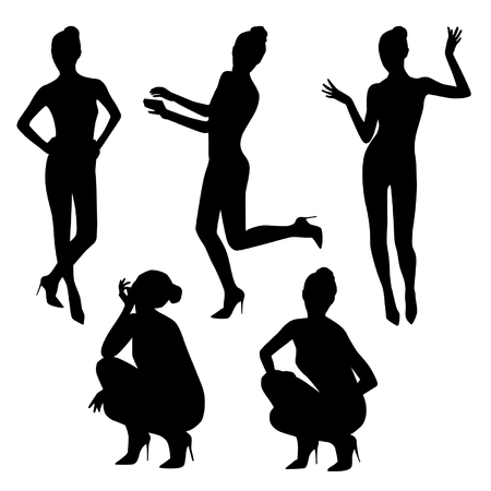 Black posing women silhouettes set Vectores