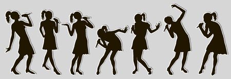 Sticker woman singer silhouettes set