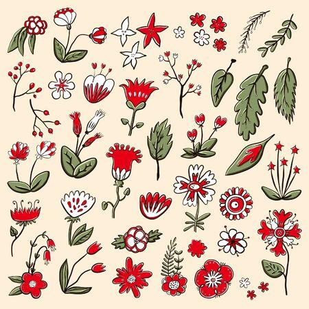 Hand gezeichnete Farbe Blumen Set Standard-Bild - 90042506