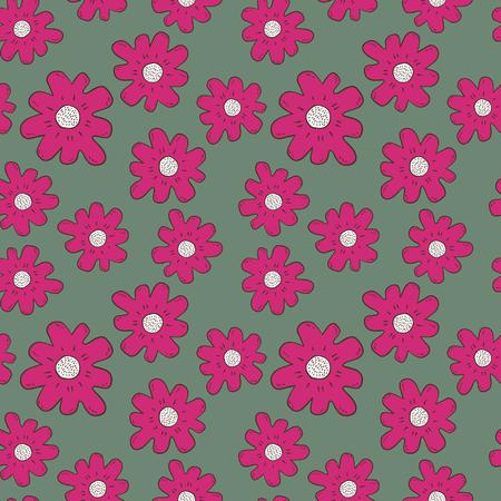 Hand gezeichnete Farbe Blumen nahtlose Muster Standard-Bild - 90042507