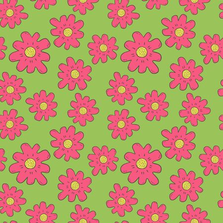 Hand Drawn Color Flowers Seamless Pattern