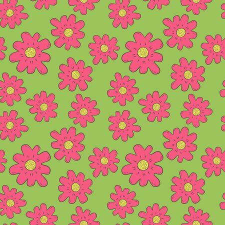 Hand gezeichnete Farbe Blumen nahtlose Muster Standard-Bild - 90042508
