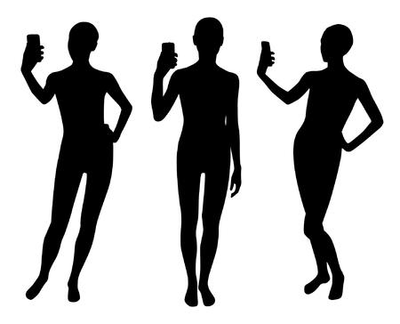 Mädchen Silhouetten machen Selbst-Set Standard-Bild - 90042509