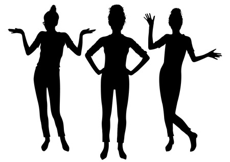 Black posing women silhouettes set Illustration