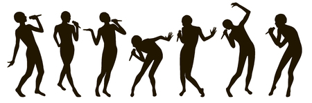 Singer silhouettes set