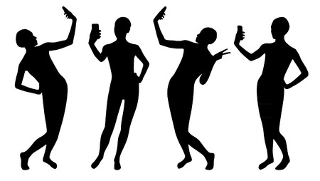 Mädchen Silhouetten machen Selbst-Set Standard-Bild - 90042512