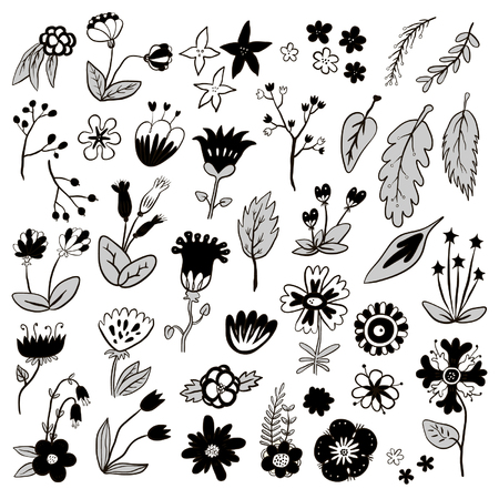Hand drawn black and white flower decorative vector Vectores