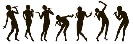 Schwarze singende Leuteschattenbilder eingestellt Standard-Bild - 90705048