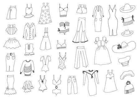Modischer Kleidungsskizzensatz Standard-Bild - 90705050