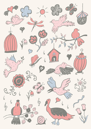 Hand Drawn Color Cartoon Birds Set