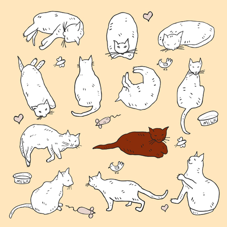Hand gezeichneter lustiger kindischer weißer Katzensatz Standard-Bild - 90705049