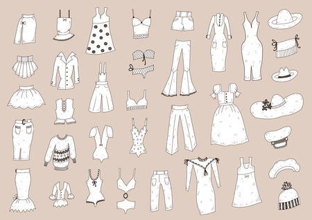 Fashionable clothes sketch set