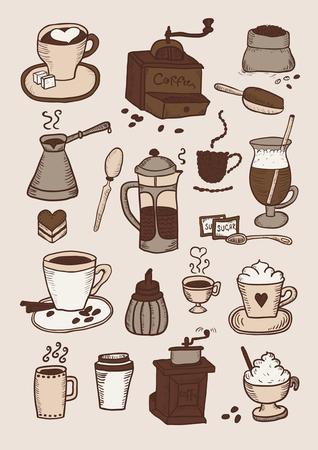 Hand gezeichneter bunter Satz des Kaffees Standard-Bild - 90705057