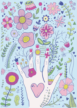 Hand drawn colorful childish hand and flowers sketch Illustration