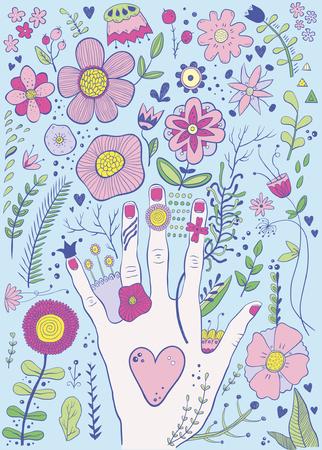 Hand gezeichnete bunte kindische Hand- und Blumenskizze Standard-Bild - 90776907