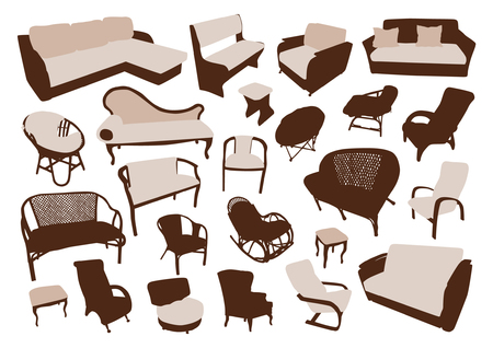 Sofa and chair silhouettes set Illustration