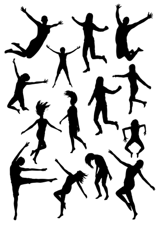Happy jumping and flying people silhouettes. Black vector people Vectores