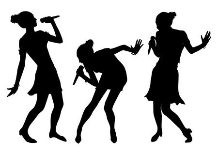 Schwarz Singen Menschen Silhouetten Standard-Bild - 90776914