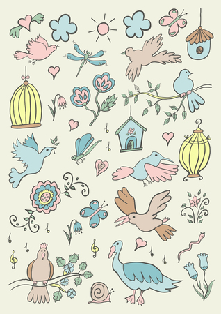 Hand gezeichnete Farbe Cartoon Vögel Set Standard-Bild - 93709796