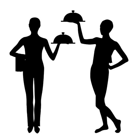 Two waiter silhouette