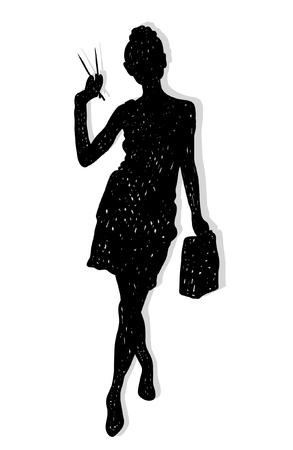 Schwarze Hand gezeichnete Silhouette von Mädchen mit Essstäbchen . Sushi isoliert Figur Standard-Bild - 93726288