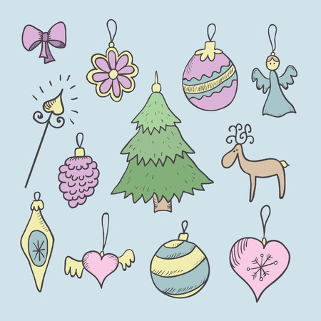 Christmas decorations hand drawn color set. Vectores