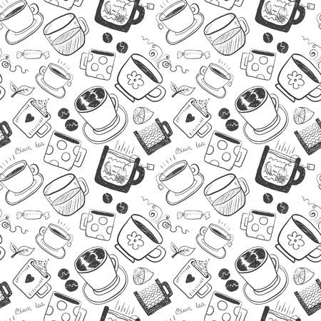 Hand zeichnen lustige Skizze Tee und Kaffee-Set Standard-Bild - 93709886