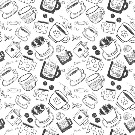 Hand draw funny sketch tea and coffee set.