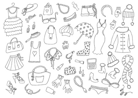 Fashion hand drawn set Vectores