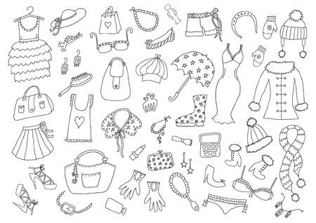 Mode Hand gezeichnete Set Standard-Bild - 93709586