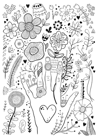 Hand drawn black and white childish hand and flowers sketch vector illustration