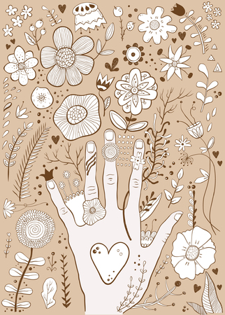 Hand drawn colorful childish hand and flowers sketch vector illustration Illustration