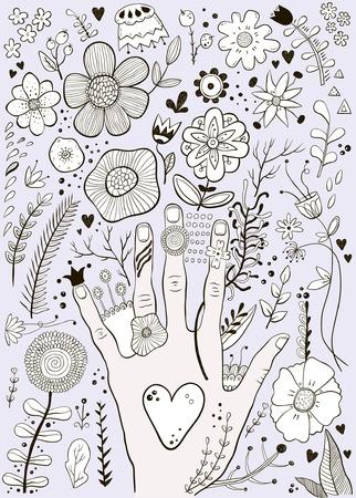 Hand gezeichnete bunte kindische Hand und Blumen Skizze Vektor-Illustration Standard-Bild - 93709539