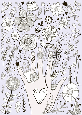 Hand drawn colorful childish hand and flowers sketch vector illustration Vectores