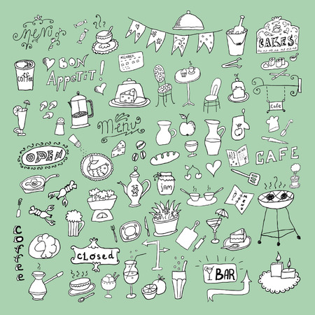 Big set of hand drawn food