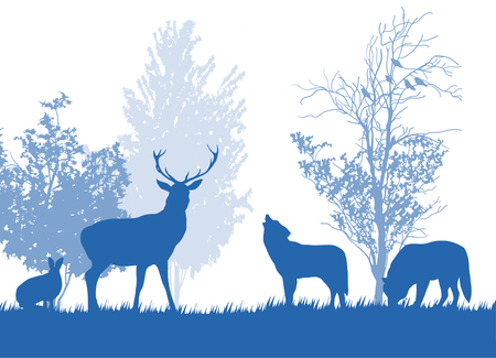 Wild animals in the forest silhouette set.