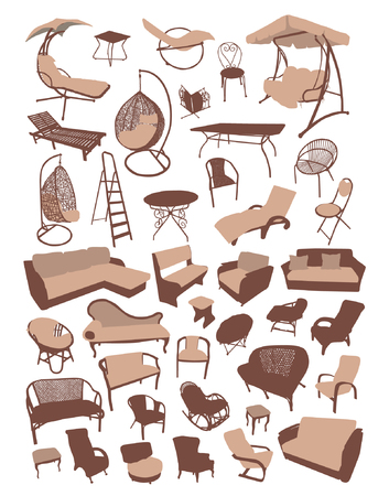 Sofa and chair furniture silhouettes set vector illustration