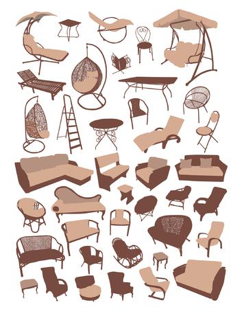 Sofa und Stuhl Möbel Silhouetten Set Vektor-Illustration Standard-Bild - 93709402