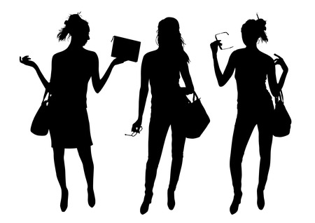 Girls with bags in silhouette illustration.
