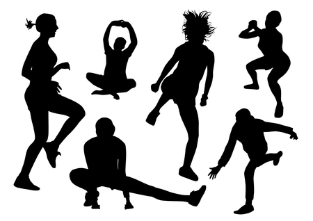 Set of woman and man gym silhouettes