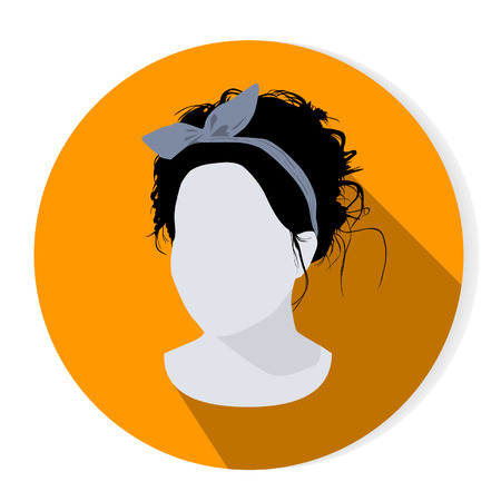 Vector woman fashionable avatar portrait with shadow Illustration