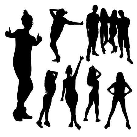happy emotional friendly people silhouettes isolated on white background Illustration