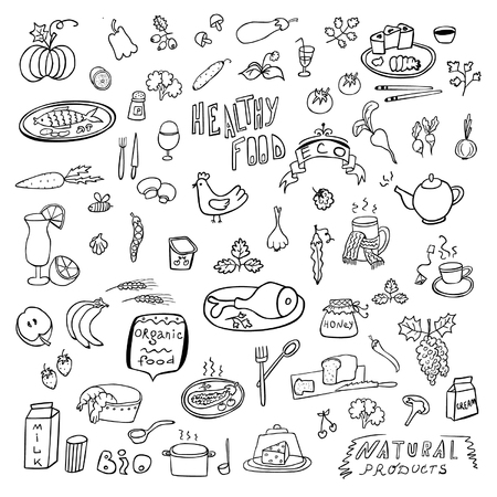 Hand draw food sketch set