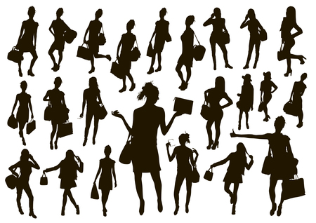 Black women with bags silhouette set. Travel and shopping female vector illustration. Çizim