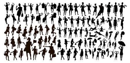 Black people isolated silhouette set. Female vector illustration. Women with different accesoires - with chopsticks, umbrellas, bags, books, shoes and clothes.