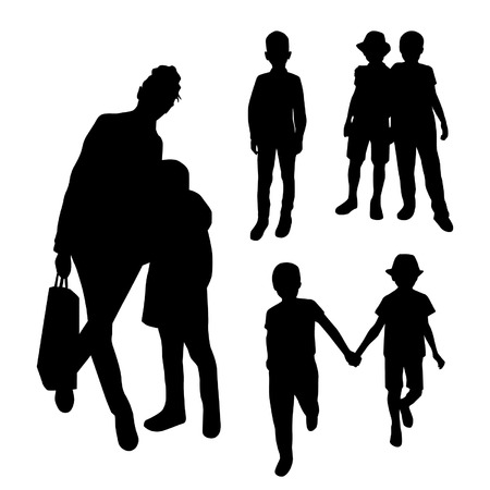 Mother and Children Black Silhouettes Set Illustration