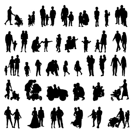 People and children black isolated silhouettes set. Vectores