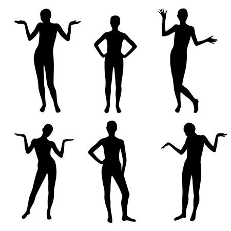 Black emotional people silhouette set.